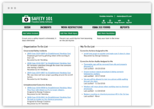 Home page of Safety 101 where you can add a safety incident, audit a corrective action or add a work restriction