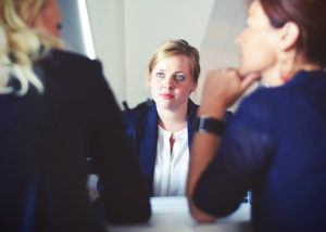 Women collaborating in a meeting
