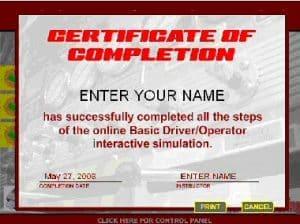 Basic Fire Truck Driver/Operator Simulator Certificate