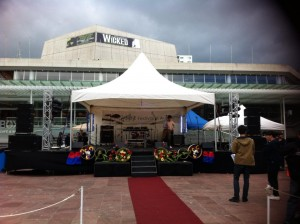 Covered Stage hire for outdoor events - our large 7.2 by 6m setup for Duruje Festival in Aotea Square.