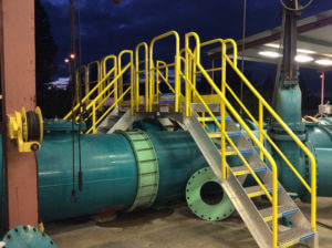 Erectastep industrial crossover stairs Porterville facility