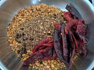 Roasted dal for rasam podi recipe