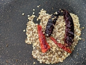 Urad Dal cumin seeds and whole red chillies