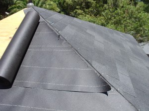 Re use the diagonal cut on the felt on the other side of the roof
