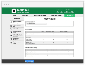 See a summary of your Incidents and Safety Activity YTD and how it compares to last year at this time and the previous year.