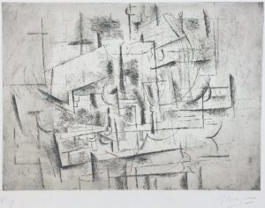 Georges Braque Nature Morte II, 1912 Vallier 10. Etching and drypoint on Arches paper.