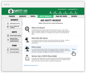 Store all your safety incidents, near misses, OSHA recordables incidents in the cloud with Safety 101's software