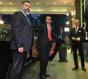 President Jokowi arrives at Steigenberger Hotel in Hamburg
