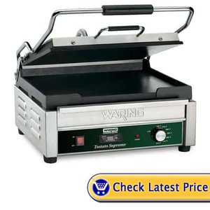 "Opposing Commercial Routine Panini Grill with Timer 120 volt. This is a heavy-duty commercial Panini grill that is even both top and bottom. It is designed to be run on and run all day. The cast iron is very strong and has very scarce healing time when cooking. Features: Heavy Duty Cast Iron Plates Large 14.5"" x 11"" cooking surface Countdown timer 120 Volt 1800 watts NSF approved"
