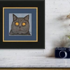 The Fat Black Cat, Oil Painting, Anita Louise Art