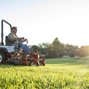 mowing a healthy, pest-free lawn with an Exmark zero-turn mower