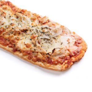 Pizza lunga pollo con cebolla y mozzarella | di Paolo