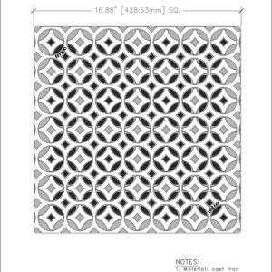 Iron Age 18x18 catch basin grate- Interlaken pattern - cut sheet
