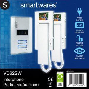 Türsprechanlage -Smartwares Video-Türgegensprechanlage für 2 Teilnehmer, VD62 SW