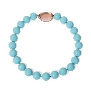 Crushed Shell Bead Turquoise colour Necklace with Rose Quartz & Pink Sapphire Clasp