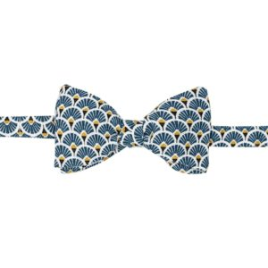 noeud papillon à plumes bleu