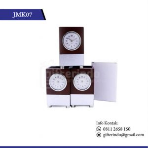 Jam Meja Analog Kayu Pen Holder