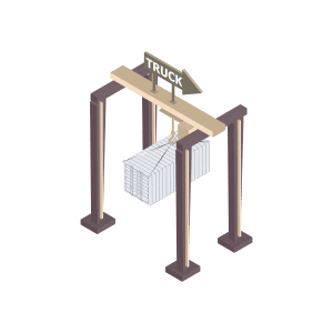 A rendering of a gantry lifting a shipping container