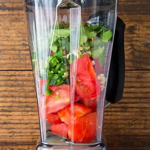 Fresh Blender Salsa ingredients in Vitamix blender