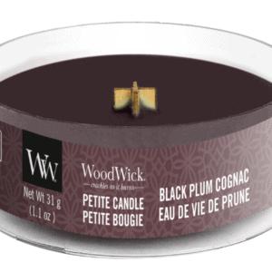 WoodWick® Petite Candle – Black Plum Cognac
