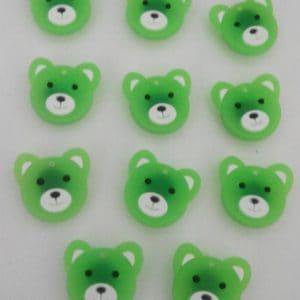 Bouton plastique vert ourson