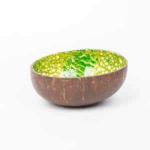 Kokosnusschale mit hellgrünem Mosaikmuster