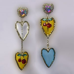 Translucent Acrylic & Crystal Heart Statement Earrings