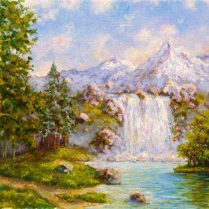 Горы и водопад этюд