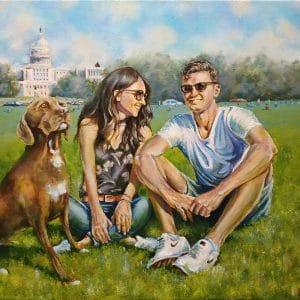 портрет влюбленные на траве