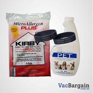Kirby Pet Stain and Odor Remover 651ml +2 Genuine Kirby Belts + 6 Genuine Kirby's Ultimate Filtration Bags, MICRON ALLERGEN PLUS