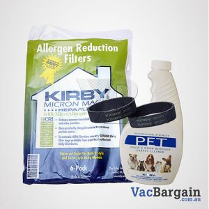 Kirby Pet Stain and Odor Remover 651ml +2 Genuine Kirby Belts + 6 Genuine Kirby Bags, Universal Fit for ALL KIRBY MODELS