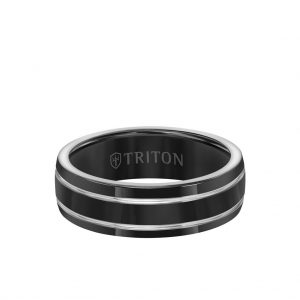 7MM Titanium Ring - Domed Black Satin Center and Bevel Edge