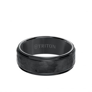 8MM Tungsten Carbide Ring - Hammered Center and Step Edge 11-3288-8