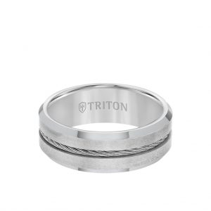 8MM Tungsten Carbide Ring - Steel Cable Center and Bevel Edge - 11-3289-8