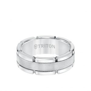 8MM Tungsten Carbide Ring - Flat Brushed Center and Link Edge 11-5252-8