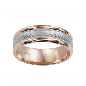 Comfort Fit Engraved Wedding Band with brush finish and rolled edge