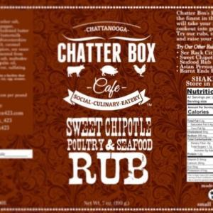 Chatter Box Cafe Sweet Chipotle Poultry and Seafood Rub