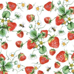 Ambiente servetten Strawberries All Over Wit