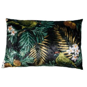 Claudi kussen ice Velvet Tropical Birds Black