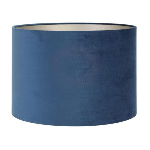 Light & Living lampenkap velours Petrol Blue cilinder (22-22-27 cm)
