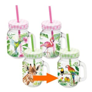 PPD drinkglas Tropical Papegaaien
