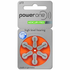 Power One Size 13 Mercury Free Hearing Aid Batteries