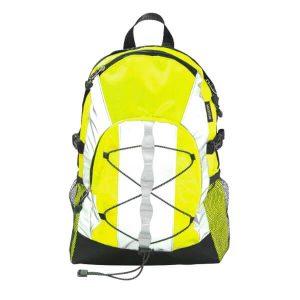 Edestä kuvattuna keltainen Heijastava Reppu jonka tilavuus on 15 litraa.
