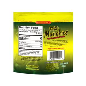 Back of Mt. Olive Munchies Kosher Dill Chips Pouch
