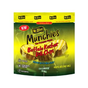 Front of Mt. Olive Munchies Buffalo Kosher Dill Chips Pouch