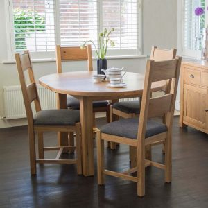 Solid Oak Round Extending Dining Table 107-140cm