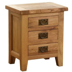 Vancouver Oak 3 Drawer Bedside Table