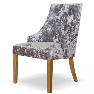Ascott Deep Crushed Silver Velvet Dining Chair