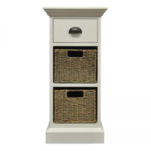 Pure Wicker Lamp Table with 2 Storage Baskets