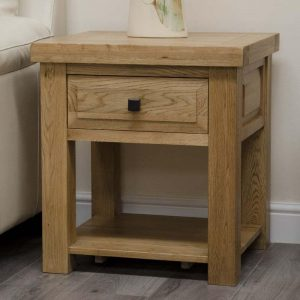 Oak Lamp Table with Drawer and shelf